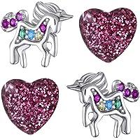 2x Mädchen Ohrringe aus echt 925 Sterling Silber mit Zirkonia Edelstahl Ohrstecker Einhorn Pferde Herz