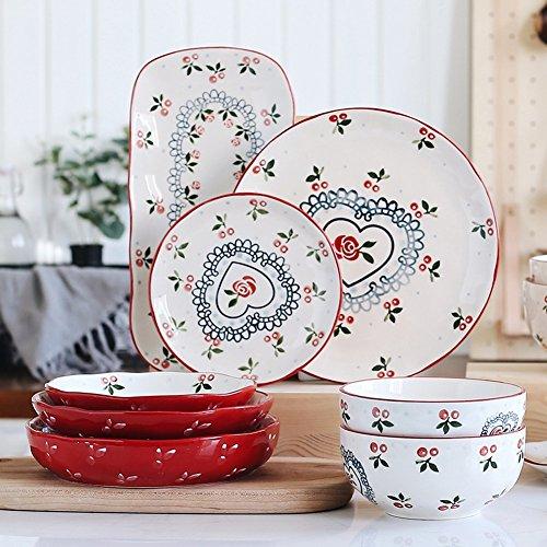 Eoco Speisen Platten-lebendige einfache Art Porzellanschale langlebige Steingut Tray für Geburtstag, Tea-Party, Hochzeit und Party Feiern-Geschirr Teller, Frühstück Platte-8 Stück (8 Stück Frühstücks-set)