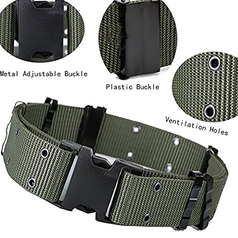 Military Waist Belt Nylon Webbing EDC Gear Adjustable Heavy Duty Outdoor Tactical Police Security/Rescue Rigger with Quick-release Plastic Buckle for Hunting,Hiking-Extension 2 Inch Wide (Olive Green)