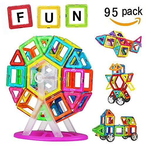 Magnetische Kreativ (Crenova Magnetische Bausteine Regenbogen Set 95 Teile Inspirierender Standard Bausatz-Kreative und Pädagogische Spielzeuge-Riesenrad & Aufbewahrungstasche)