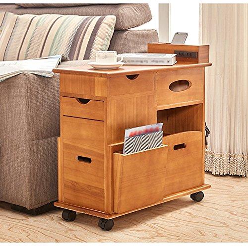 nachttische Beweglicher Beistelltisch Sofa-Seitenschrank Massivholz-Multifunktionsrolle Wohnzimmer-Seitenschrank Kleiner Kaffeetisch ( Farbe : B )