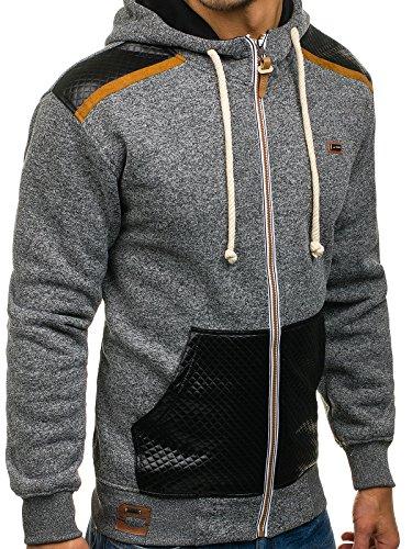 BOLF Herren Kapuzenpullover mit Reißverschluss Baumwollmischung Sweatjacke Hoodie 1A1 Anthrazit_3558
