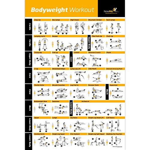 Bodyweight Übungsposter - Total Body Workout - Personal Trainer Fitness Programm - Home Gym Poster - Tones Core, Bauchmuskel, Beine, Gluts & Oberkörper - verbessert das Training Routine - 50,8 x 76,2 cm -