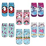 LegendsChan 6 Paar Damen Mädchen Socken Einhorn Canvalite Cartoon Tier Socken Geschenk für Weihnachten Karneval Freizeit