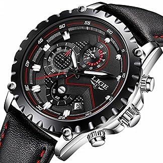 Herren-Schwarz-Leder-Business-Armbanduhr-Chronograph-Uhr-Marke-Luxus-Fashion-Casual-Sport-wasserdicht-Quarz-Armbanduhr