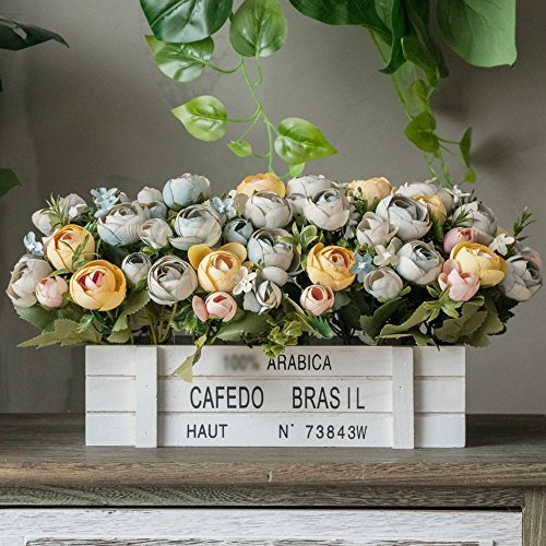 Jnseaol fiori artificiali con vaso incluso bagno da interno bouquet per esterno balcone decorazione della bagattella del salone di natale di nozze retro rosa