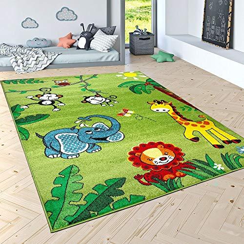 Paco Home Kinderteppich Spielteppich Dschungel Tiere Palmen AFFE Elefant Giraffe Löwe Grün, Grösse:160x220 cm