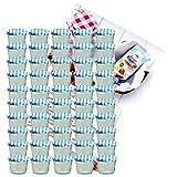 Set di 50 caduta vetro 230 ml marmellate vetro barattolo da conserva To 82 blu a scacchi con coperchio thuppaki-zucchero Gelierzauber ricetta manico