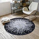 GLP Round Carpets Absorber Schnelltrocknende Teppich Drehstuhl Fuß/Boden/Tür Matten Couchtisch Sofa Living/Bed Room Pad Circular Polyester Teppich (Pattern : B, Size : Diameter 60cm)