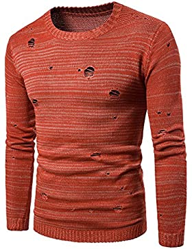 HY-Sweater 's Hombres sin Agujeros Lose Hedging Jersey de Cuello Redondo, Orange Red, XX-Large