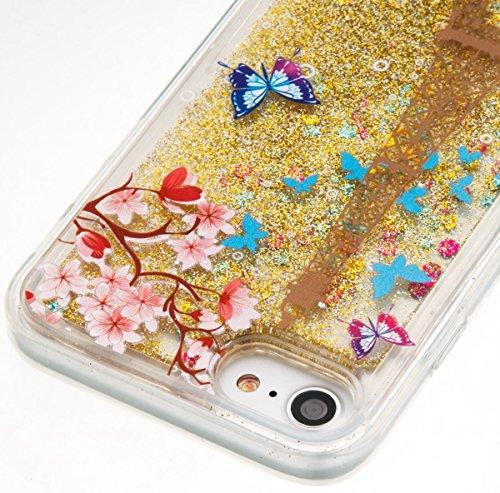iPhone 7 Plus Clear Transparent Glitzer Case,Glitzer Transparent Hülle für iPhone 7 Plus,iPhone 7 Plus Crystal Clear Hardcase Case Hülle Liquid Gel Schutzhülle Etui für iPhone 7 Plus 5.5 Zoll,EMAXELER U Liquid 1