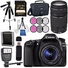 Canon EOS 80D DSLR Camera With 18-55mm Lens + Canon EF 75-300mm Lens + Canon 100ES EOS Shoulder Bag Bundle