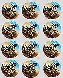 12 Motocross reispapier märchen / becher kuchen 40mm cake topper vorschnitt deko