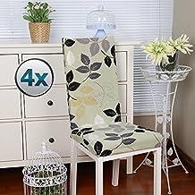 Fundas para sillas pack de 4 fundas sillas comedor fundas elásticas, cubiertas para sillas,bielástico Extraíble funda, muy fácil de limpiar, duradera- Vistoso (Paquete de 4, Hojas)