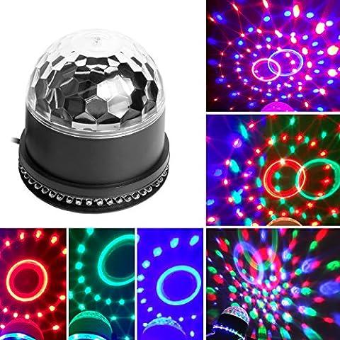 Stage Lighting Disco Bühnelicht LED RGB Kristall Magic Ball Sprachaktivierte Effect Licht,Bühnenbeleuchtung Lampe Projektor für Disco, Geburtstag party Hochzeit,Weihnachten, Halloween, Bar,Karaoke,Schlafzimmer Club von WEINAS-weihnachten