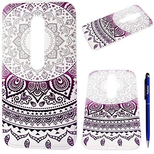 Coque MOTO G3, Yokata Tribal Mandala Custodia Trasparente Crystal Clear Cover Gomma Soft Silicone Bumper Case et Ultra Slim Backcover Protettivo Case Cover - Porpora
