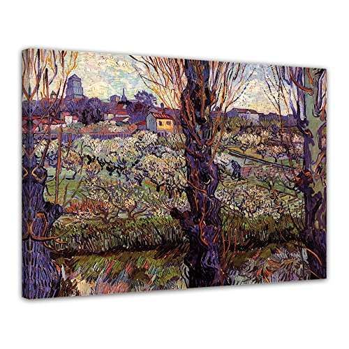Wandbild Vincent Van Gogh Blick auf Arles - 70x50cm quer - Alte Meister Berühmte Gemälde Leinwandbild Kunstdruck Bild auf Leinwand -