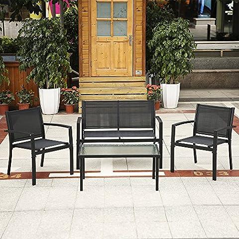 IKAYAA 4PCS Ensemble de Meubles de Jardin Patio Ensemble de Chaises de Canapé-cabine de Porche Table Ensemble de Conversation en Plein air Cadre en Acier
