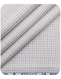 9b99fa755 Arvind Men s White Cotton Purple   Black Checks Shirt Fabric (1.60 ...
