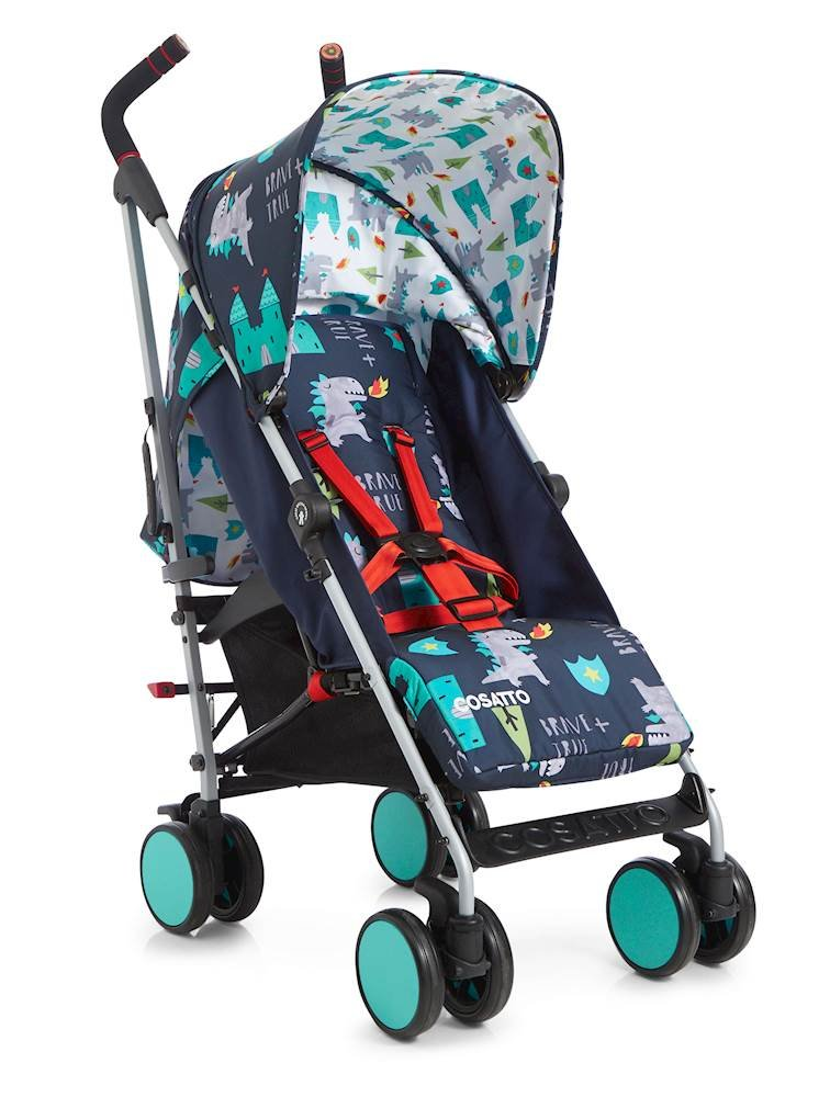 Cosatto Supa Go 2018 Stroller, Suitable from Birth, Dragon Kingdom Cosatto Suitable from birth up to 25 kg stroller; umbrella fold lightweight aluminium chassis with carry handle and folded free-standing feature For added comfort, Supa Go 2018 has an integral upf100+ extended hood; one handed four position seat recline and adjustable calf support Supa Go 2018's all about easy, with large basket, adjustable handle height, swivel and lockable front wheels 1
