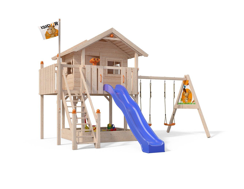 XL-Baumhaus COLINO von Oskar Spielturm mit Schaukelanbau und Sicherheitstreppe, XXL- Rutsche, Sandkasten und Balkon auf 1,50 Meter Podesthöhe 5
