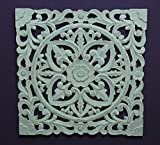DRW Mandala Tallado de Madera Calada, Blanco decapado, 60X60 Cm