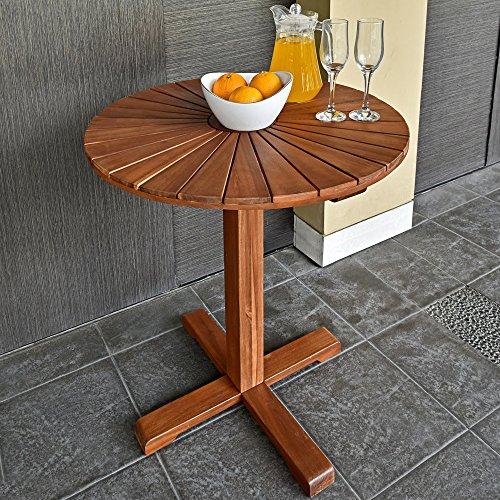 Deuba Gartentisch Rund Balkontisch Sunrise Akazie Holz I Ø70,5cm I Massiv I Beistelltisch Holztisch Garten Gartenmöbel