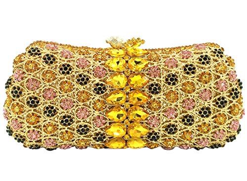 Borsa Donna Pochette Sera Borsetta Portafoglio Partito Cerimonia Sposa Spalla Frizioni Eleganti Ananas Giallo Yellow