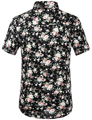 SSLR Chemise Manche Courte Homme Casual à Fleurs Coton Été Noir et Rose