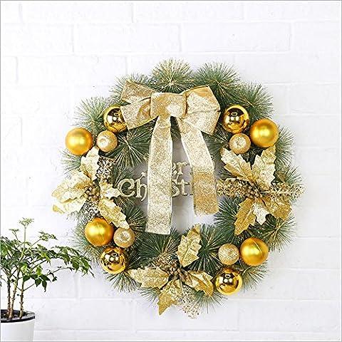 LXY Weihnachtskranz Applique Wreath Kit Home Décor 20-Zoll Runde Rustic Rattan Burlap Home Sweet Home Kranz Gold , 50cm gold
