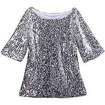 8371c3d610 Guiran Camiseta para Mujer Blusas Tops Camisetas Lentejuelas Chispa Mitad  Manga tee Tops Plateado M