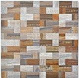 Mosaik Fliese selbstklebend Aluminium grau beige Kombination metall Holzoptik für BODEN WAND BAD WC DUSCHE KÜCHE FLIESENSPIEGEL THEKENVERKLEIDUNG BADEWANNENVERKLEIDUNG Mosaikmatte Mosaikplatte