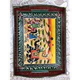 SAARTHI Rajasthani Antique Colourful Multipurpose Unique Decorative Traditional Wooden Handmade Vilage Scene Serving Tray With Curved Handles Decorative Platter | Dry Fruit Box| Home | Table| Room Decor Showpiece| Figurine