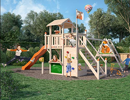 ISIDOR Joshy Spielturm Baumhaus Schaukel Kletterturm Rutsche 1,50 m Podest Sand (erweiterter Schaukelanbau, Orange)