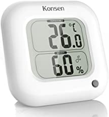 Konsen Digital Innen Thermometer-Hygrometer, Raumthermometer und Feuchtigkeitsmessgerät mit großem Display 11 x 2.3X 11cm