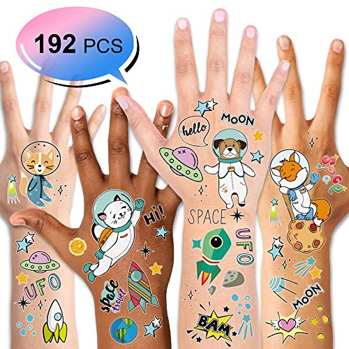 Planet Jupiter Kostüm - Konsait Kinder Tattoos Set, Sonnensystem Weltraum temporäre Tattoos Aufkleber für Kinder Spielen Mädchen Jungen Kindergeburtstag Mitgebsel, 16 Blatt