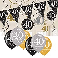 CheerstoYears 40th Birthday Decorations Black and Gold: 40th Birthday Bunting, Balloons, Hanging Decorations