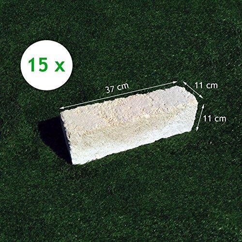 15 Mattoni di tufo chiaro 37x11x11cm blocchi per ornamento aiuole e giardino