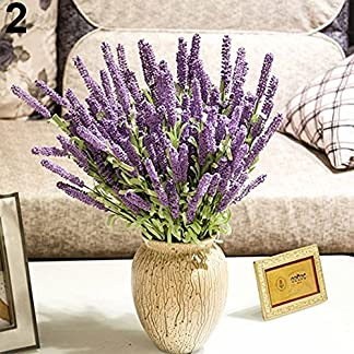 ypypiaol Decoración Del Hogar Boda Flores De Seda 12 Cabezas De Alta Simulación Montón De Lavanda Púrpura claro