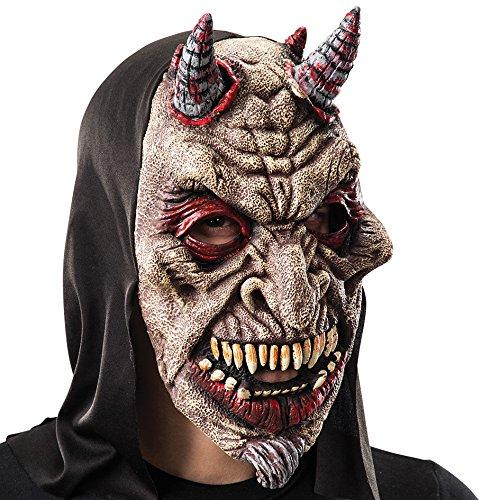Máscara de goma Eva diablo con capucha en bolsa con encabezado, color rojo (743)