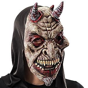 Carnival Toys - Máscara de goma Eva diablo con capucha en bolsa con encabezado, color rojo (743)