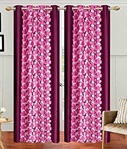 Home Luxurious Set of 2 Multi-color New Premium Design Eyelet Printed Door Curtains-Length 7Ft Width 4ft