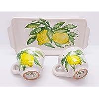 Set Vassoio + 2 Tazzine Linea Limoni Dipinto a mano Le Ceramiche del Castello Made in Italy
