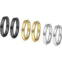 PROSTEEL Set di Orecchini Cerchio/Orecchini Clip Donna Uomo, 3/4 Paia 6/8 Pezzi, 10/14/16/20 mm Diametro, Acciaio…