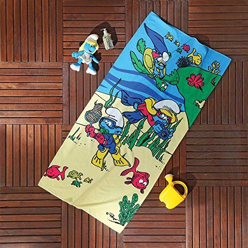 Ti Home Schlümpfe Unterwasser blau Bad Strandtuch für Schwimmen, Pool, Yoga und Spa (75x 150cm), Luxus Cartoon-Zeichen bedruckt 100% reine Baumwolle