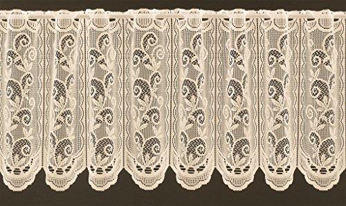 Scheibengardine mit klassischer Ranke 45 cm hoch | Breite der Gardine durch gekaufte Menge in 32 cm Schritten wählbar (Anfertigung nach Maß) | Creme | Vorhang Küche Wohnzimmer