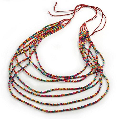 Wildleder Spitze Cord (Lange Armband, gestuftes Mehrfarbig Holz Perle Halskette mit Rot Wildleder Cord-verstellbar-110cm/140cm L)
