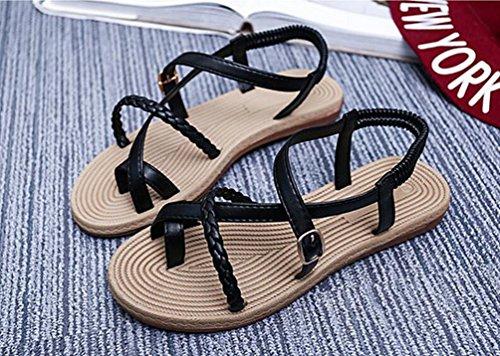 YOUJIA Casual Clip Toe Bohemia Sandales Été Plat Boucle Peep-Toe Chaussures Sandales Roman pour Femmes Noir