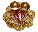 Anaya Industries Metal Haldi Kumkum Holder/Pooja Kumkum Thali Rakhi Thali (17 cm x 3 cm x 17 cm, Golden)