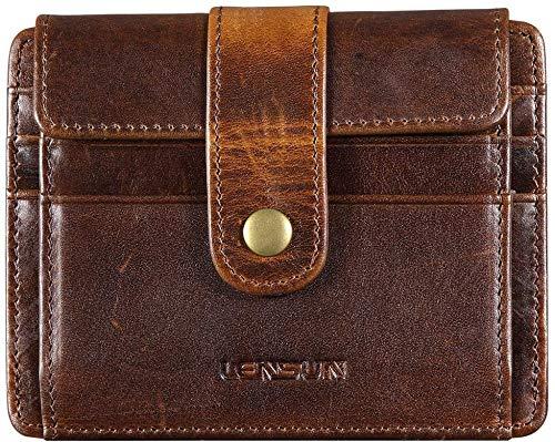 Portafoglio Uomo Piccolo in Vera Pelle, LENSUN Portamonete Carte di Credito con Blocca RFID, Mini Portafogli con Confezione Regalo - Marrone Scuro (QB-CK-DB)